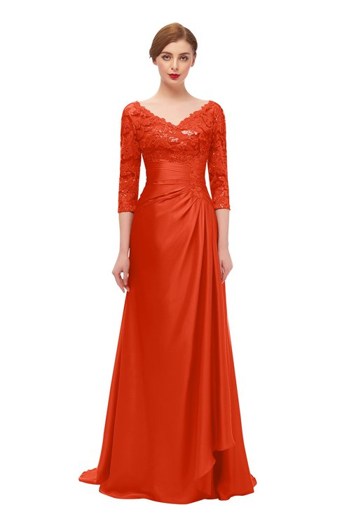 ColsBM Tatum Cherry Tomato Bridesmaid Dresses Luxury Zipper Three-fourths Length Sleeve Brush Train Lace V-neck
