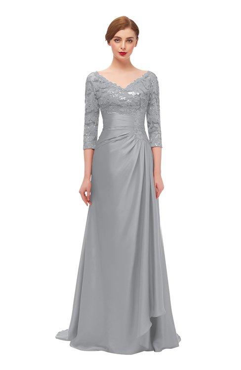 ColsBM Tatum Cloud Gray Bridesmaid Dresses Luxury Zipper Three-fourths Length Sleeve Brush Train Lace V-neck