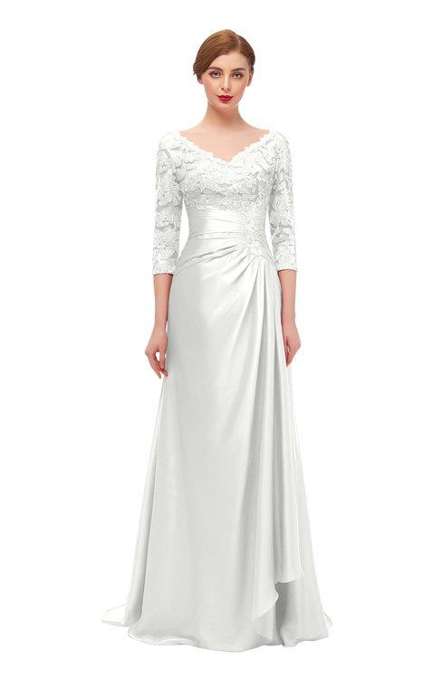 ColsBM Tatum Cloud White Bridesmaid Dresses Luxury Zipper Three-fourths Length Sleeve Brush Train Lace V-neck