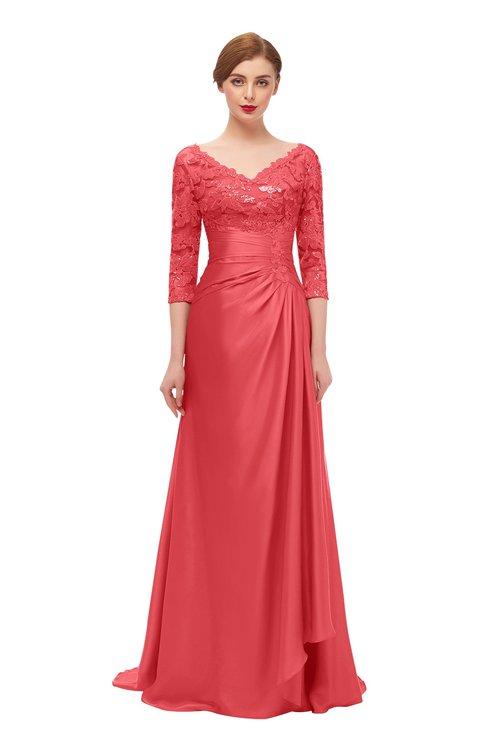 ColsBM Tatum Coral Bridesmaid Dresses Luxury Zipper Three-fourths Length Sleeve Brush Train Lace V-neck