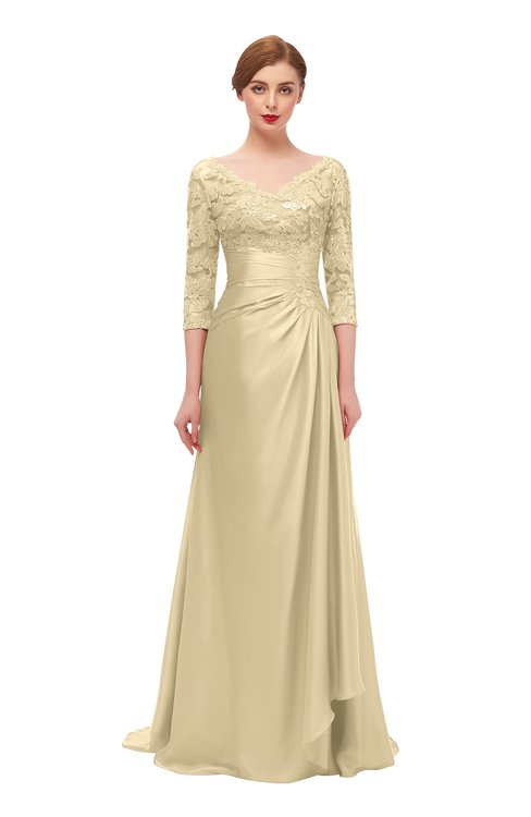 ColsBM Tatum Cornhusk Bridesmaid Dresses Luxury Zipper Three-fourths Length Sleeve Brush Train Lace V-neck