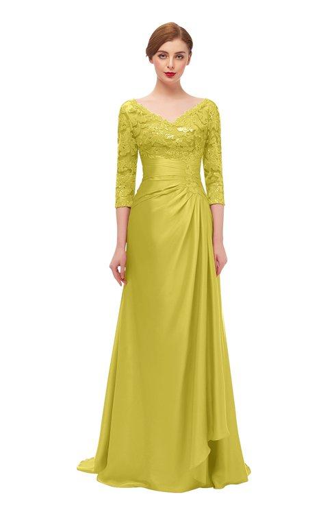 ColsBM Tatum Cream Gold Bridesmaid Dresses Luxury Zipper Three-fourths Length Sleeve Brush Train Lace V-neck
