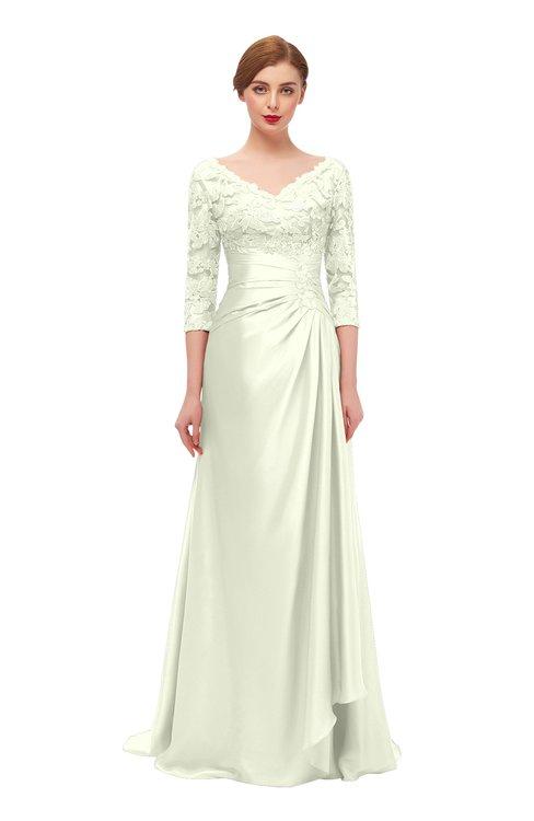ColsBM Tatum Cream Bridesmaid Dresses Luxury Zipper Three-fourths Length Sleeve Brush Train Lace V-neck