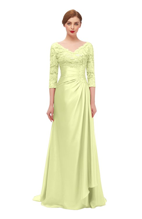 ColsBM Tatum Daffodil Bridesmaid Dresses Luxury Zipper Three-fourths Length Sleeve Brush Train Lace V-neck