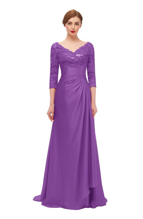 ColsBM Tatum Dahlia Bridesmaid Dresses Luxury Zipper Three-fourths Length Sleeve Brush Train Lace V-neck