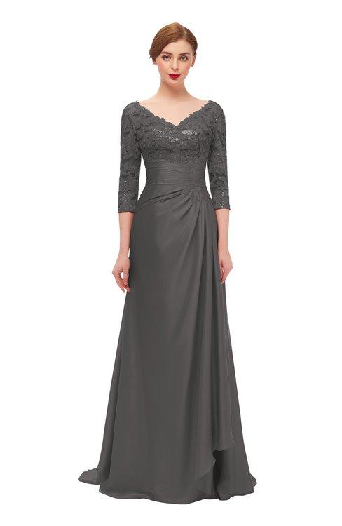 ColsBM Tatum Dark Gull Gray Bridesmaid Dresses Luxury Zipper Three-fourths Length Sleeve Brush Train Lace V-neck