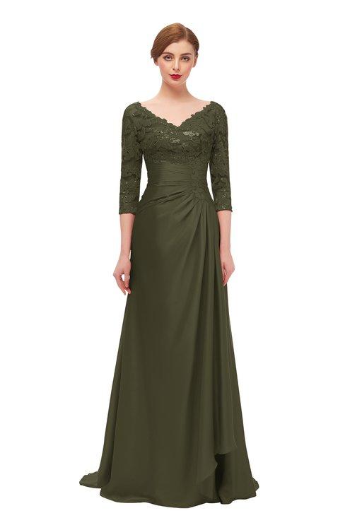 ColsBM Tatum Dark Olive Bridesmaid Dresses Luxury Zipper Three-fourths Length Sleeve Brush Train Lace V-neck