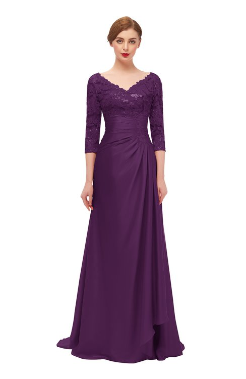 ColsBM Tatum Dark P93 Bridesmaid Dresses Luxury Zipper Three-fourths Length Sleeve Brush Train Lace V-neck
