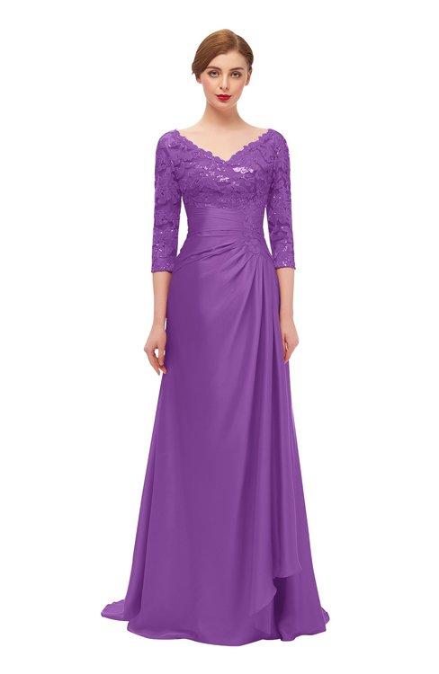 ColsBM Tatum Dewberry Bridesmaid Dresses Luxury Zipper Three-fourths Length Sleeve Brush Train Lace V-neck