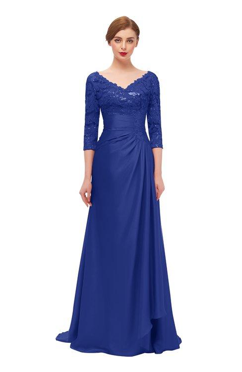 ColsBM Tatum Electric Blue Bridesmaid Dresses Luxury Zipper Three-fourths Length Sleeve Brush Train Lace V-neck