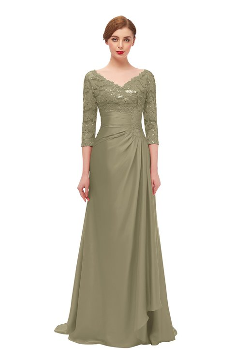 ColsBM Tatum Ermine Bridesmaid Dresses Luxury Zipper Three-fourths Length Sleeve Brush Train Lace V-neck