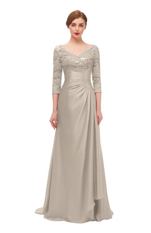 ColsBM Tatum Fawn Bridesmaid Dresses Luxury Zipper Three-fourths Length Sleeve Brush Train Lace V-neck