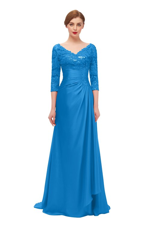 ColsBM Tatum French Blue Bridesmaid Dresses Luxury Zipper Three-fourths Length Sleeve Brush Train Lace V-neck