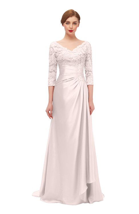 ColsBM Tatum Fresh Salmon Bridesmaid Dresses Luxury Zipper Three-fourths Length Sleeve Brush Train Lace V-neck