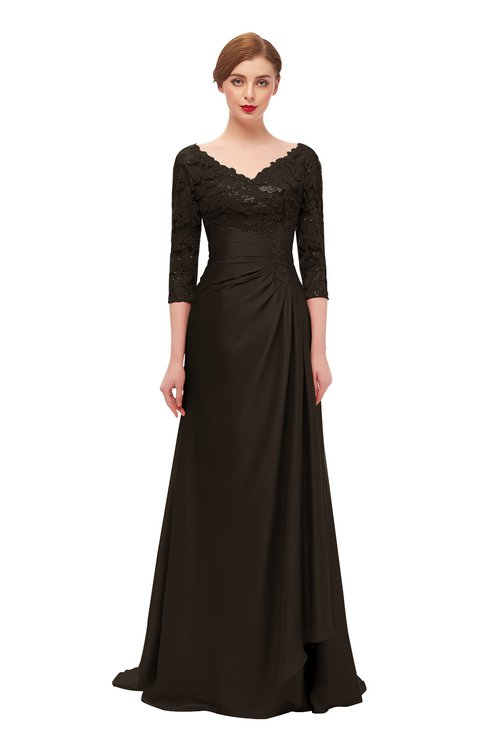 ColsBM Tatum Fudge Brown Bridesmaid Dresses Luxury Zipper Three-fourths Length Sleeve Brush Train Lace V-neck