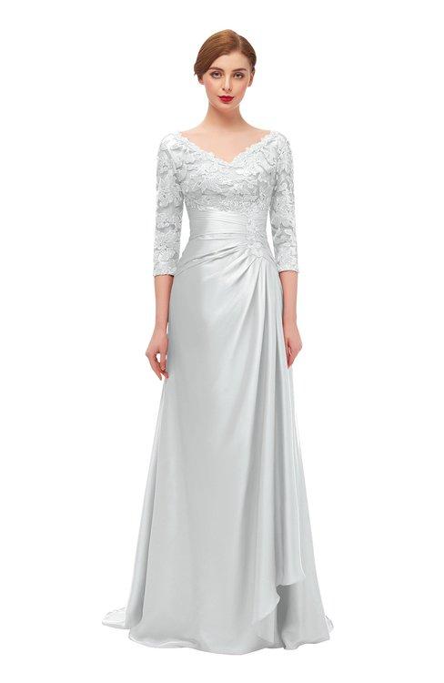 ColsBM Tatum Glacier Gray Bridesmaid Dresses Luxury Zipper Three-fourths Length Sleeve Brush Train Lace V-neck