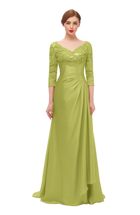 ColsBM Tatum Green Oasis Bridesmaid Dresses Luxury Zipper Three-fourths Length Sleeve Brush Train Lace V-neck