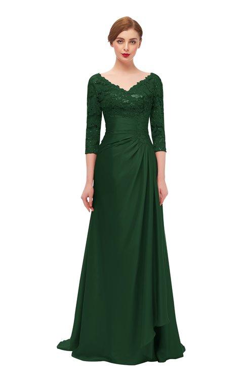 ColsBM Tatum Hunter Green Bridesmaid Dresses Luxury Zipper Three-fourths Length Sleeve Brush Train Lace V-neck