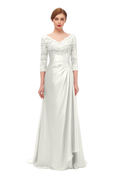 ColsBM Tatum Ivory Bridesmaid Dresses Luxury Zipper Three-fourths Length Sleeve Brush Train Lace V-neck