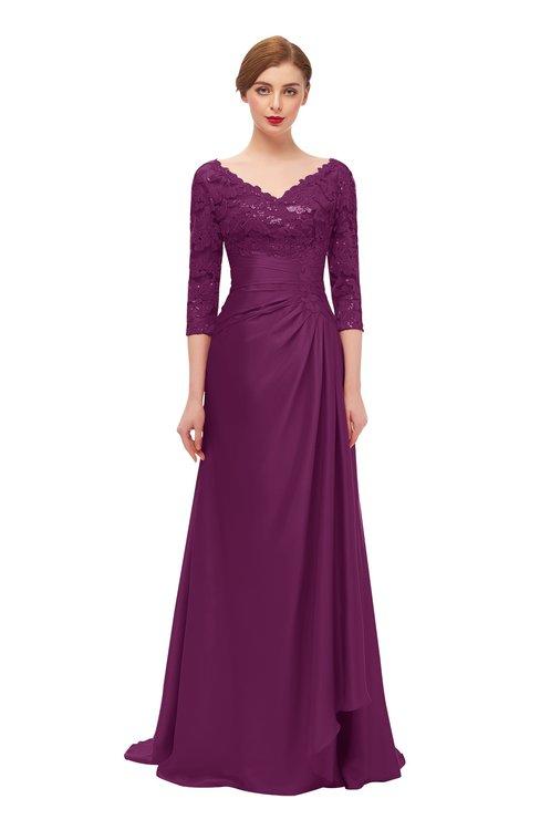 ColsBM Tatum Magenta Purple Bridesmaid Dresses Luxury Zipper Three-fourths Length Sleeve Brush Train Lace V-neck