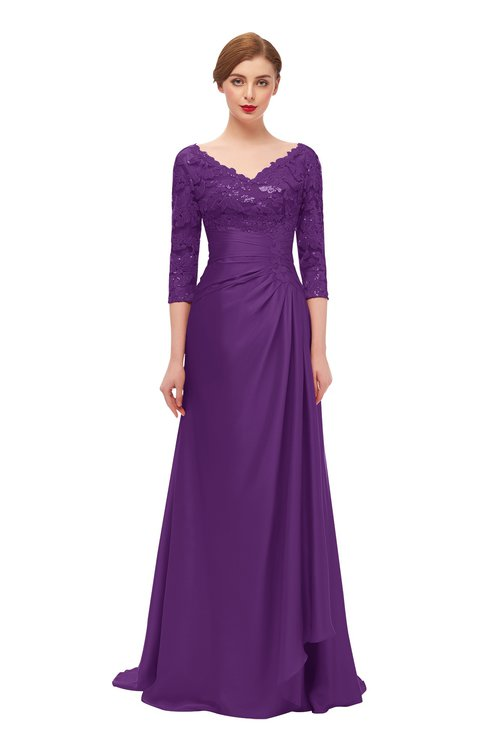 ColsBM Tatum Magic Purple Bridesmaid Dresses Luxury Zipper Three-fourths Length Sleeve Brush Train Lace V-neck