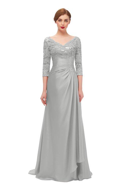 ColsBM Tatum Micro Chip Bridesmaid Dresses Luxury Zipper Three-fourths Length Sleeve Brush Train Lace V-neck