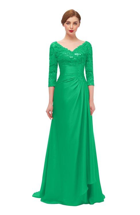 ColsBM Tatum Mint Bridesmaid Dresses Luxury Zipper Three-fourths Length Sleeve Brush Train Lace V-neck
