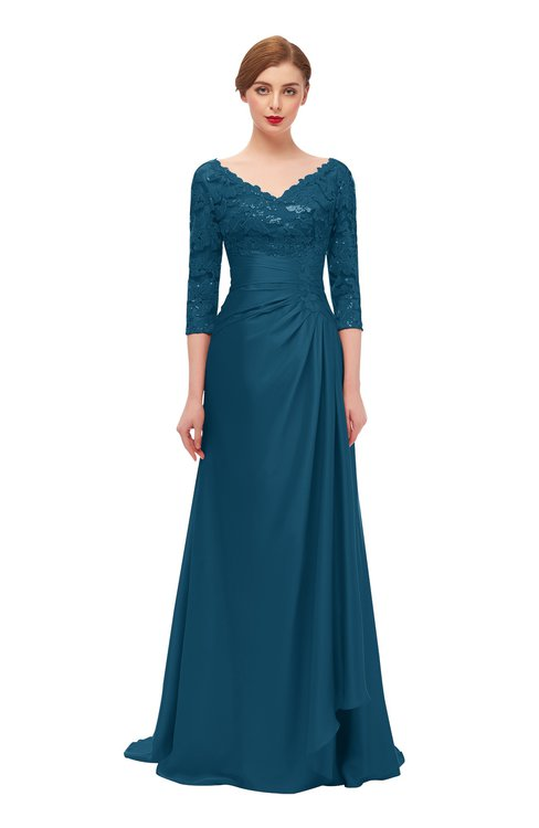 ColsBM Tatum Moroccan Blue Bridesmaid Dresses Luxury Zipper Three-fourths Length Sleeve Brush Train Lace V-neck