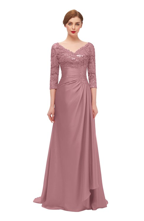 ColsBM Tatum Nectar Pink Bridesmaid Dresses Luxury Zipper Three-fourths Length Sleeve Brush Train Lace V-neck