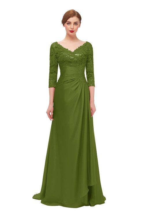 ColsBM Tatum Olive Green Bridesmaid Dresses Luxury Zipper Three-fourths Length Sleeve Brush Train Lace V-neck