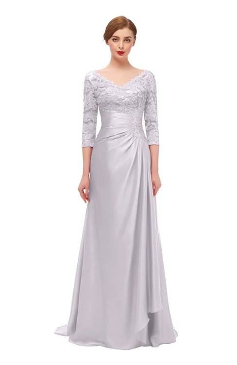 ColsBM Tatum Orchid Tint Bridesmaid Dresses Luxury Zipper Three-fourths Length Sleeve Brush Train Lace V-neck