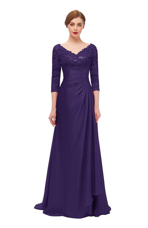 ColsBM Tatum Parachute Purple Bridesmaid Dresses Luxury Zipper Three-fourths Length Sleeve Brush Train Lace V-neck