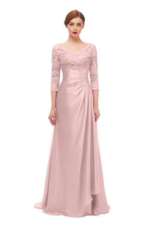 ColsBM Tatum Pastel Pink Bridesmaid Dresses Luxury Zipper Three-fourths Length Sleeve Brush Train Lace V-neck