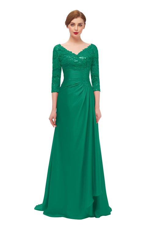 ColsBM Tatum Pepper Green Bridesmaid Dresses Luxury Zipper Three-fourths Length Sleeve Brush Train Lace V-neck