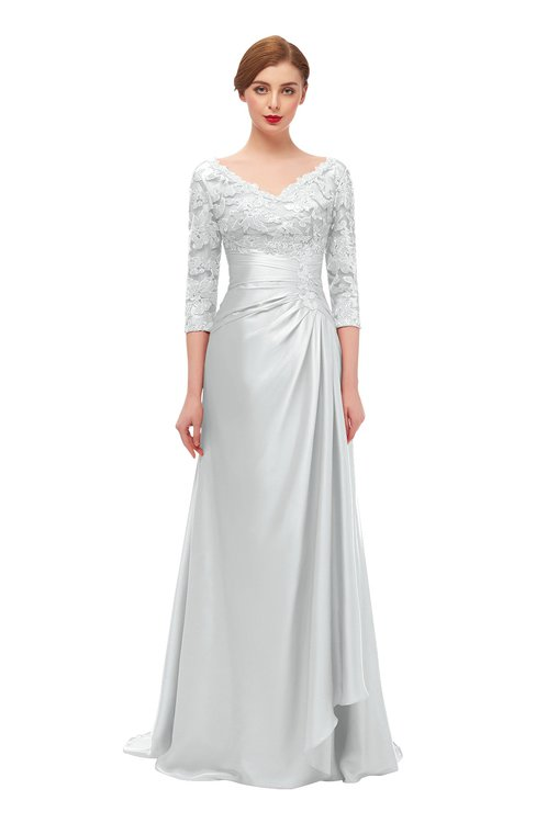 ColsBM Tatum Platinum Bridesmaid Dresses Luxury Zipper Three-fourths Length Sleeve Brush Train Lace V-neck