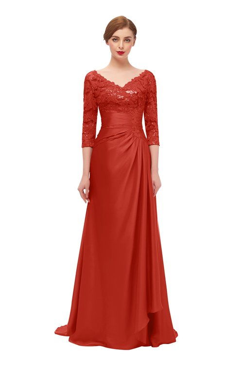 ColsBM Tatum Poinciana Bridesmaid Dresses Luxury Zipper Three-fourths Length Sleeve Brush Train Lace V-neck