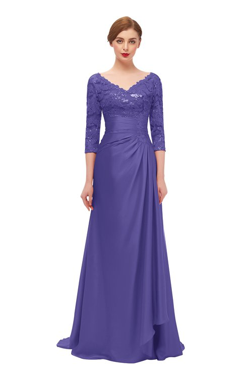 ColsBM Tatum Purple Opulence Bridesmaid Dresses Luxury Zipper Three-fourths Length Sleeve Brush Train Lace V-neck