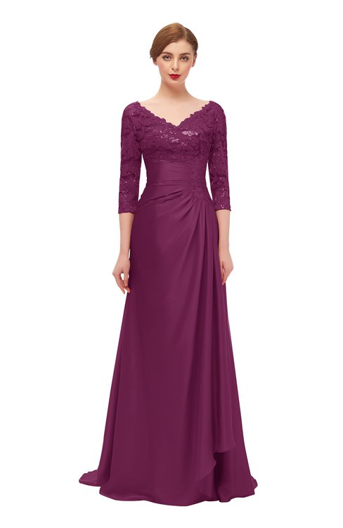 ColsBM Tatum Raspberry Radiance Bridesmaid Dresses Luxury Zipper Three-fourths Length Sleeve Brush Train Lace V-neck