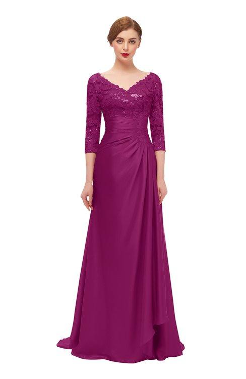 ColsBM Tatum Raspberry Bridesmaid Dresses Luxury Zipper Three-fourths Length Sleeve Brush Train Lace V-neck