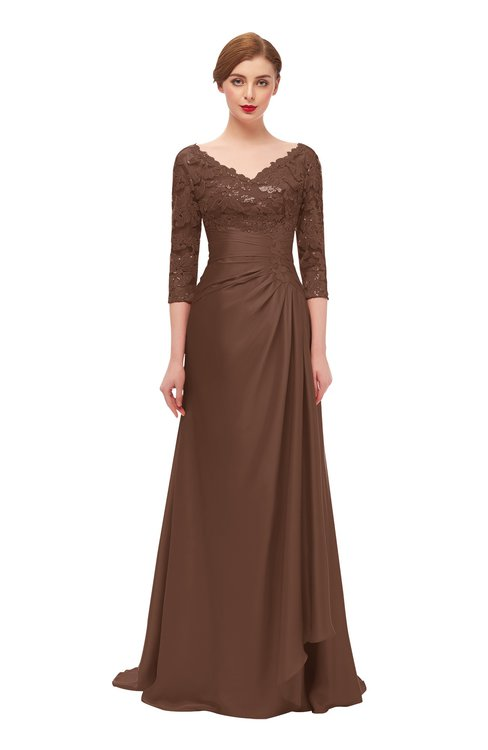 ColsBM Tatum Root Beer Bridesmaid Dresses Luxury Zipper Three-fourths Length Sleeve Brush Train Lace V-neck