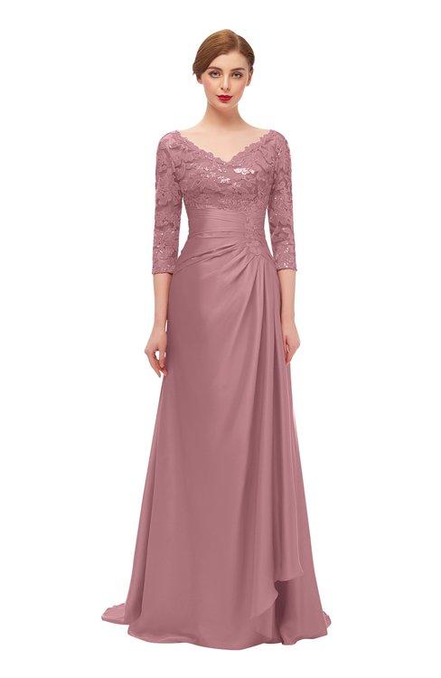 ColsBM Tatum Rose Tan Bridesmaid Dresses Luxury Zipper Three-fourths Length Sleeve Brush Train Lace V-neck