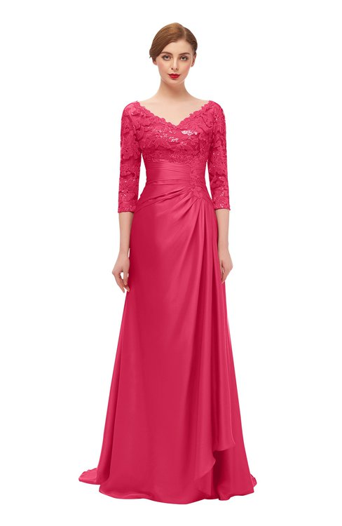 ColsBM Tatum Rouge Red Bridesmaid Dresses Luxury Zipper Three-fourths Length Sleeve Brush Train Lace V-neck