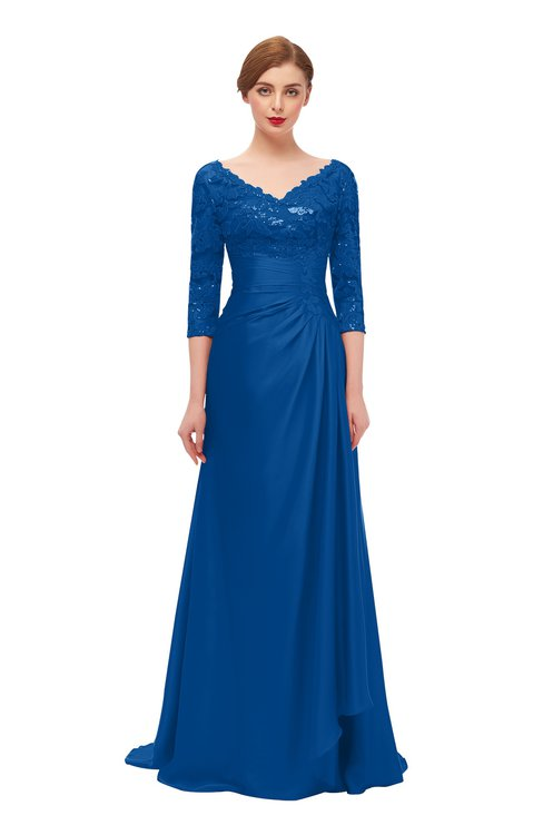 ColsBM Tatum Royal Blue Bridesmaid Dresses Luxury Zipper Three-fourths Length Sleeve Brush Train Lace V-neck
