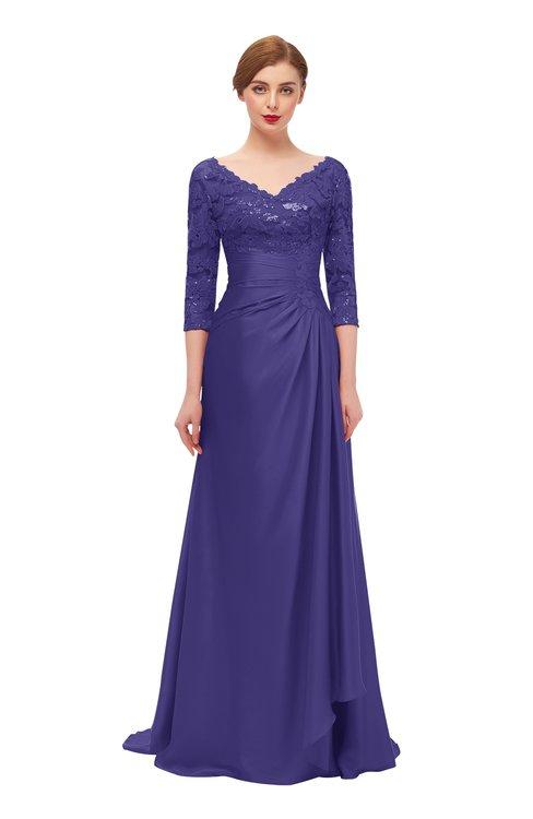 ColsBM Tatum Royal Purple Bridesmaid Dresses Luxury Zipper Three-fourths Length Sleeve Brush Train Lace V-neck