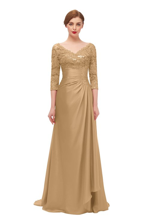 ColsBM Tatum Sand Bridesmaid Dresses Luxury Zipper Three-fourths Length Sleeve Brush Train Lace V-neck