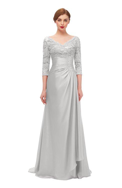 ColsBM Tatum Silver Gray Bridesmaid Dresses Luxury Zipper Three-fourths Length Sleeve Brush Train Lace V-neck