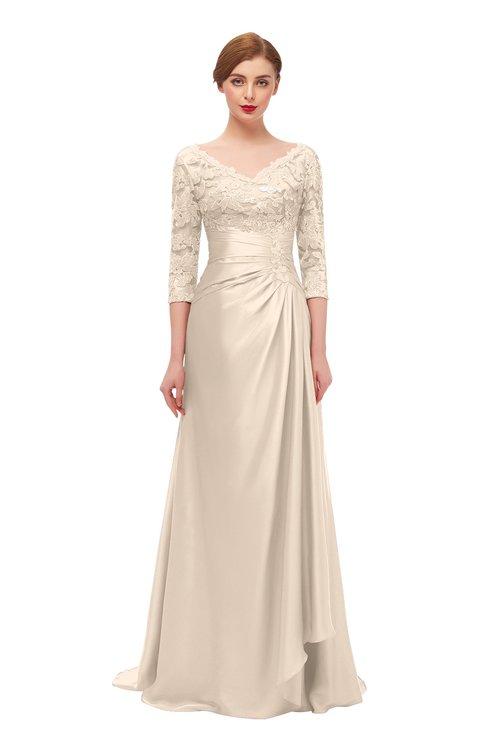 ColsBM Tatum Silver Peony Bridesmaid Dresses Luxury Zipper Three-fourths Length Sleeve Brush Train Lace V-neck