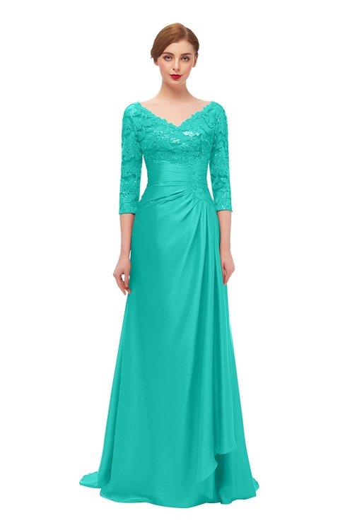 ColsBM Tatum Spectra Green Bridesmaid Dresses Luxury Zipper Three-fourths Length Sleeve Brush Train Lace V-neck