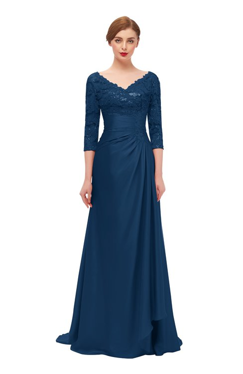ColsBM Tatum Twilight Blue Bridesmaid Dresses Luxury Zipper Three-fourths Length Sleeve Brush Train Lace V-neck