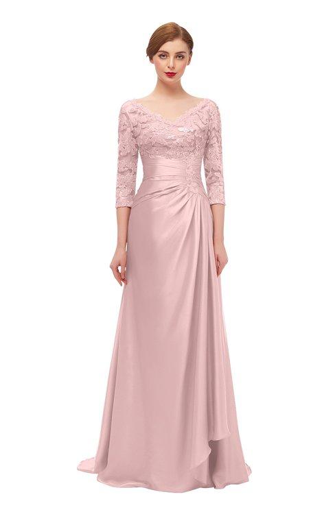 ColsBM Tatum Veiled Rose Bridesmaid Dresses Luxury Zipper Three-fourths Length Sleeve Brush Train Lace V-neck
